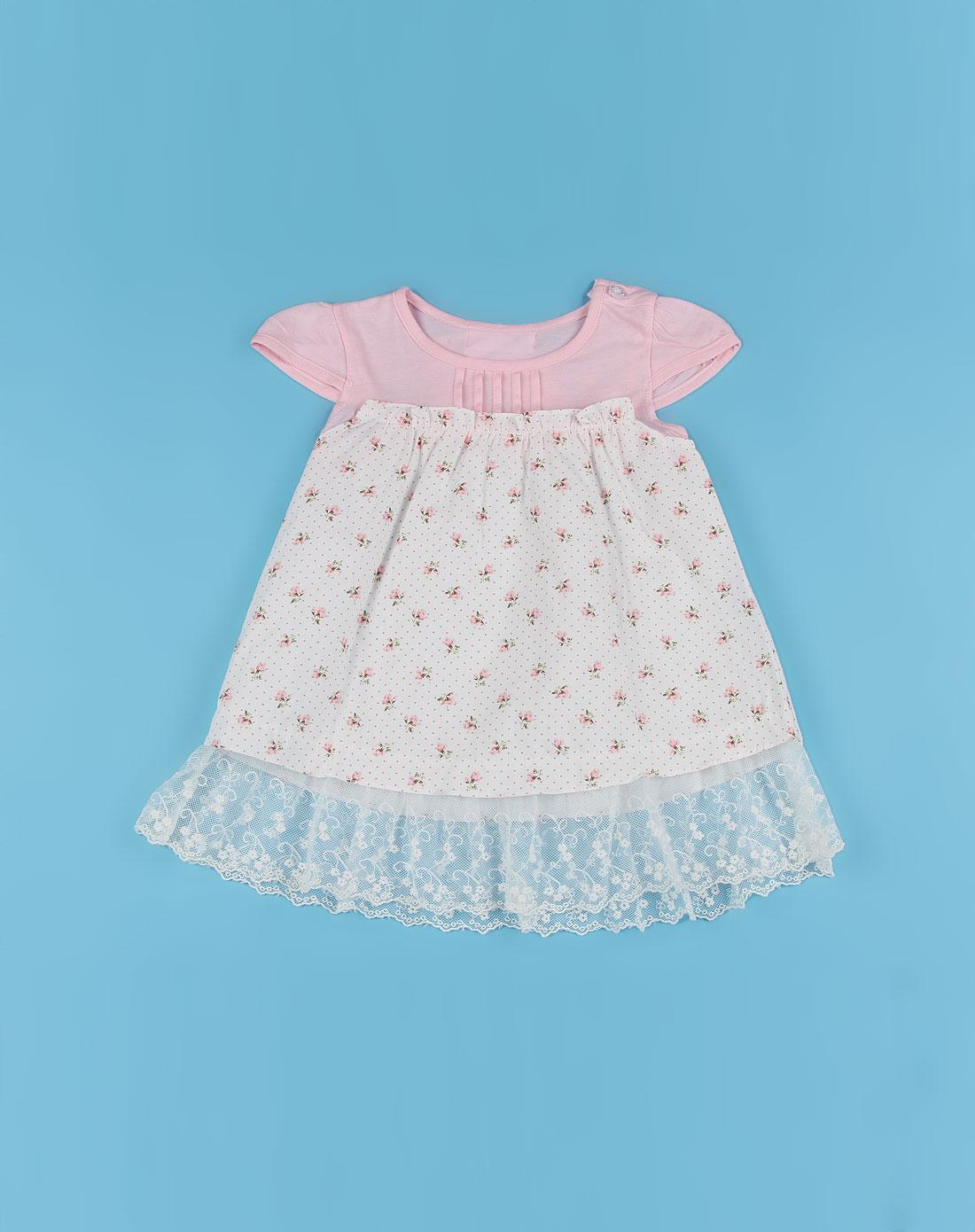 女童粉色漂亮公主短袖连衣裙