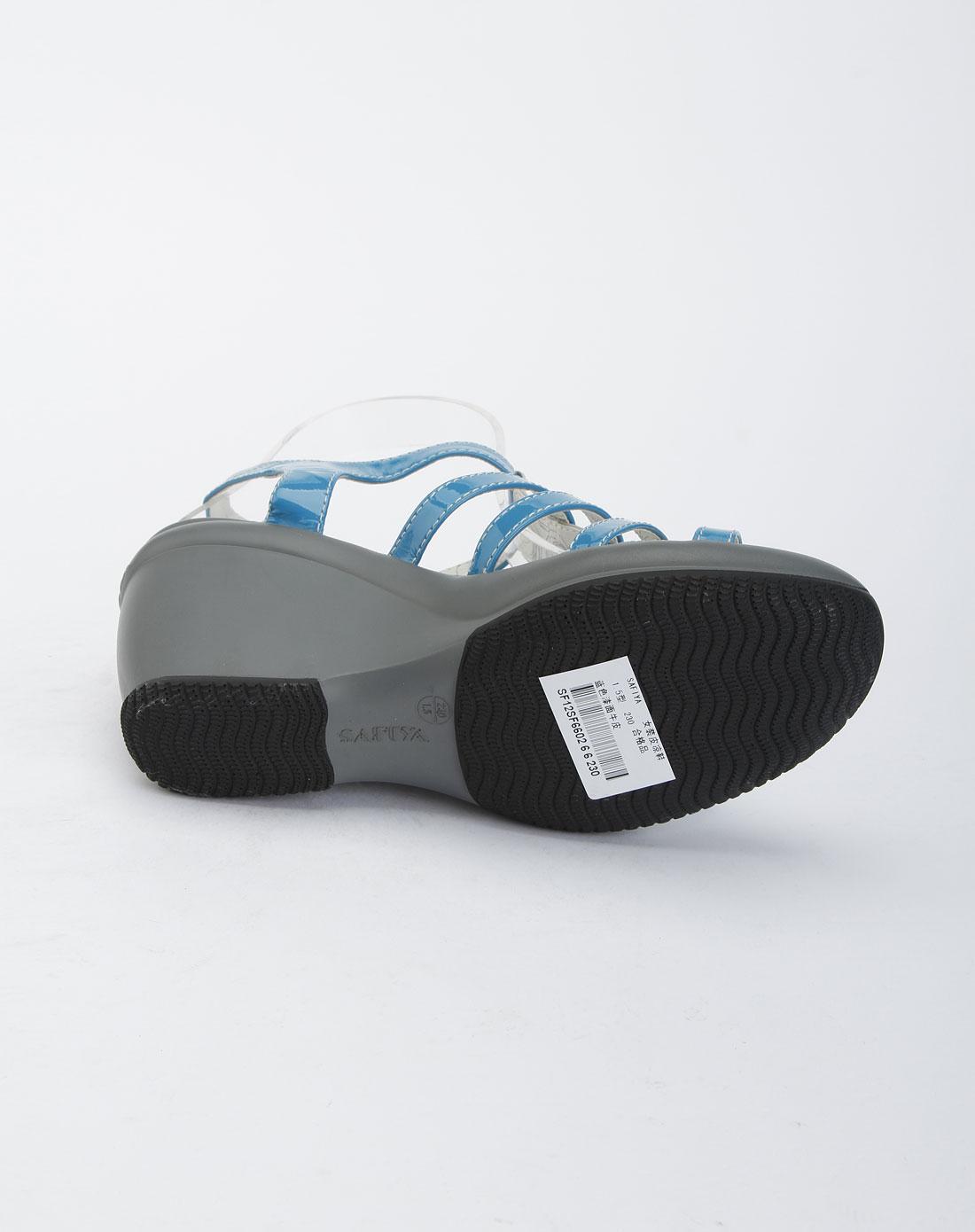 索菲娅safiya蓝色时尚坡跟凉鞋sf12sf660266