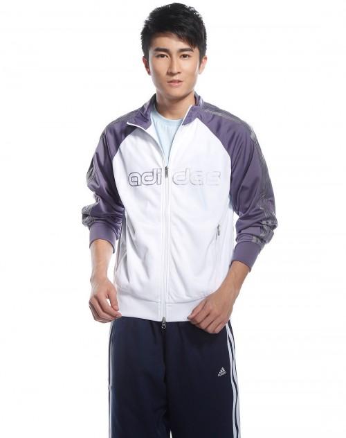 男款白 浅紫色运功长袖外套 阿迪达斯ADIDAS 男装专场特价2