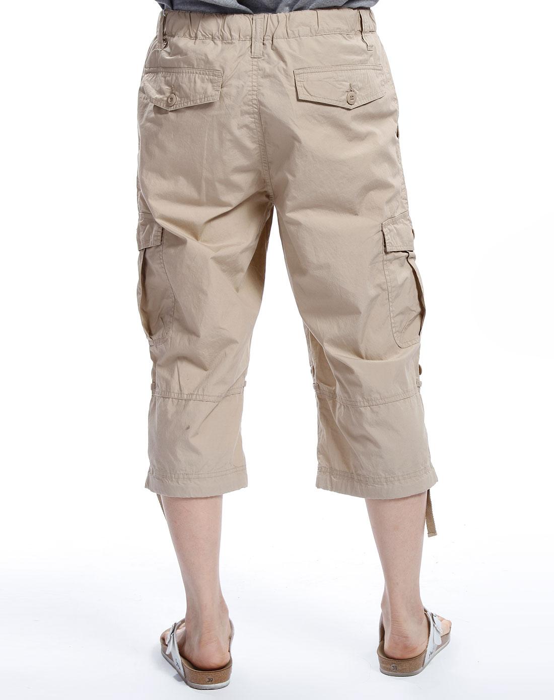 男款卡其色七分裤