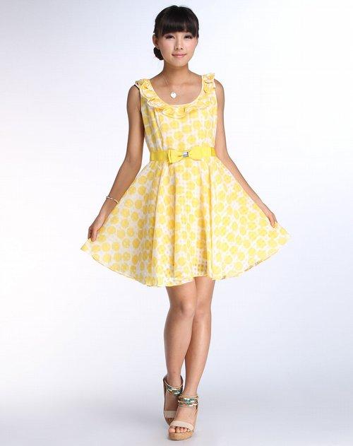 贝茜bessie女装专场黄色时尚经典无袖连衣裙