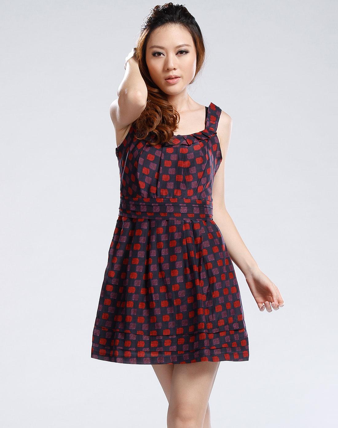 深蓝/红色吊带连衣裙