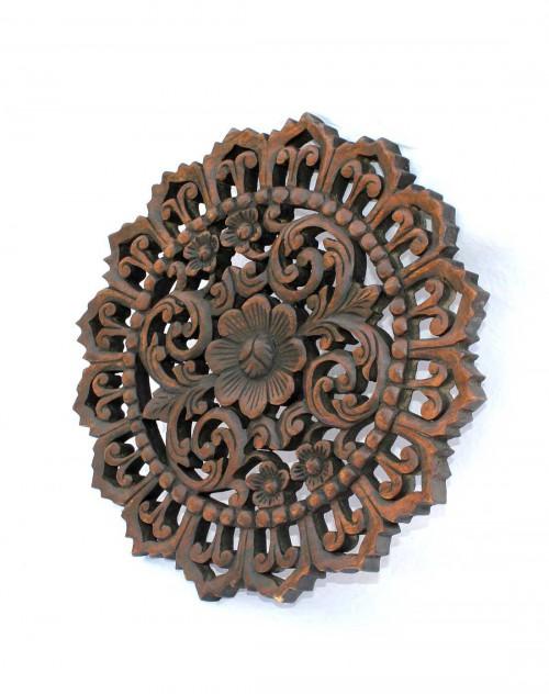 悦木之源泰国天然芒果木木雕挂件圆形色花纹(锯齿)