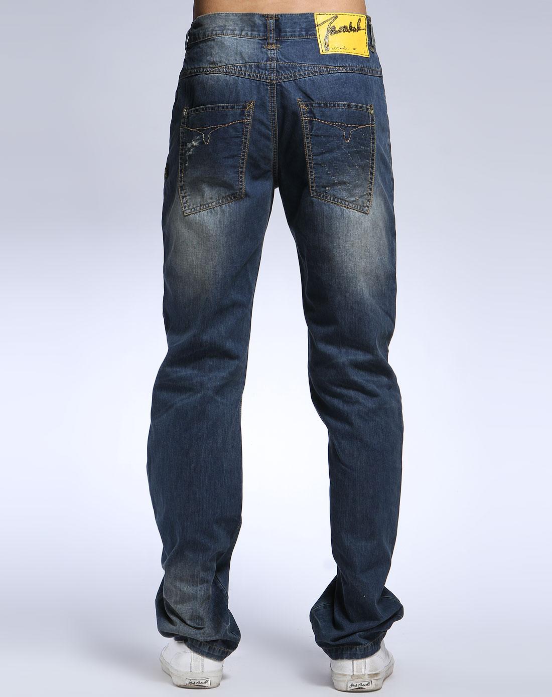 马克华菲蓝色休闲牛仔长裤