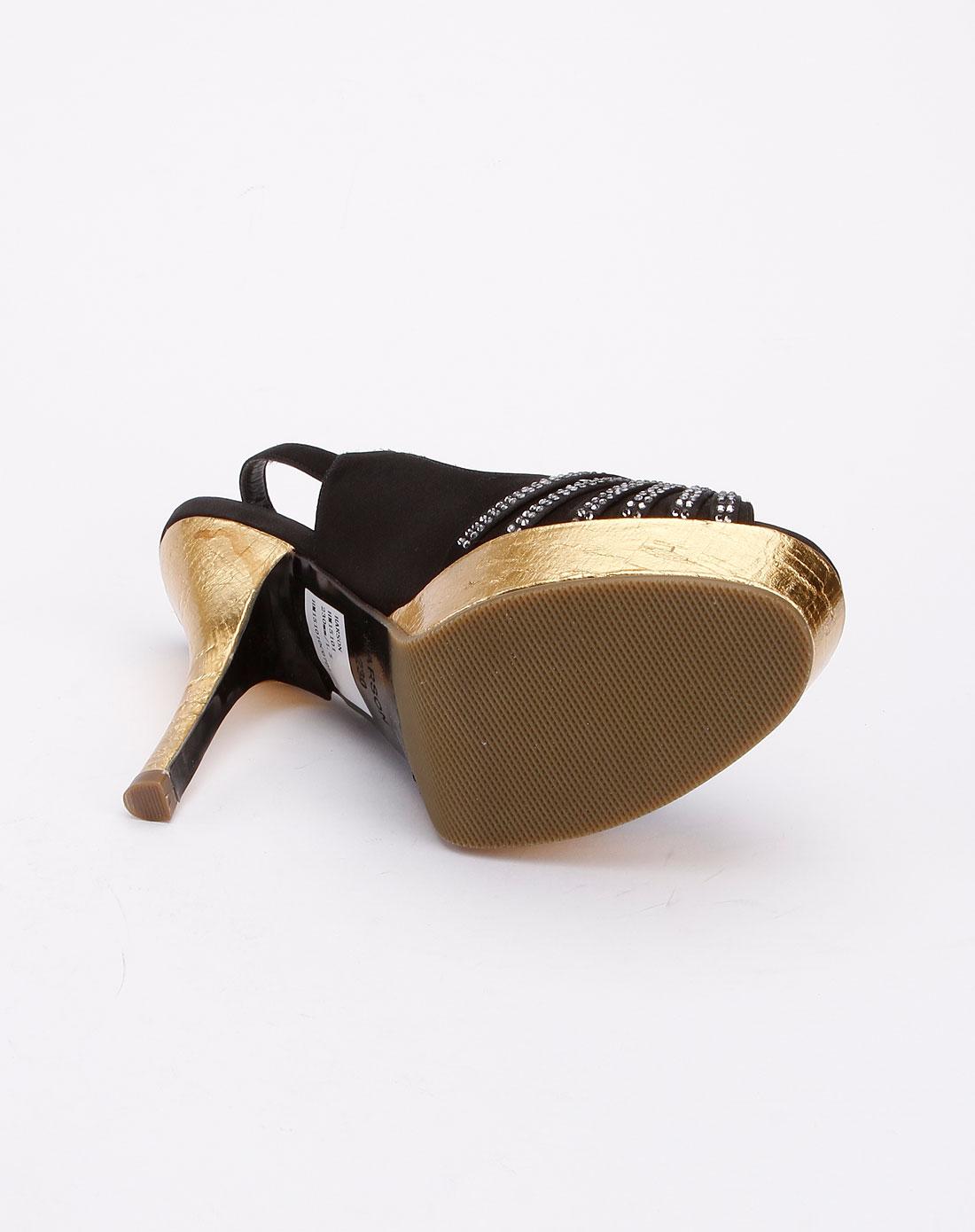 哈森harson女鞋专场-黑色时尚简约超高跟凉鞋