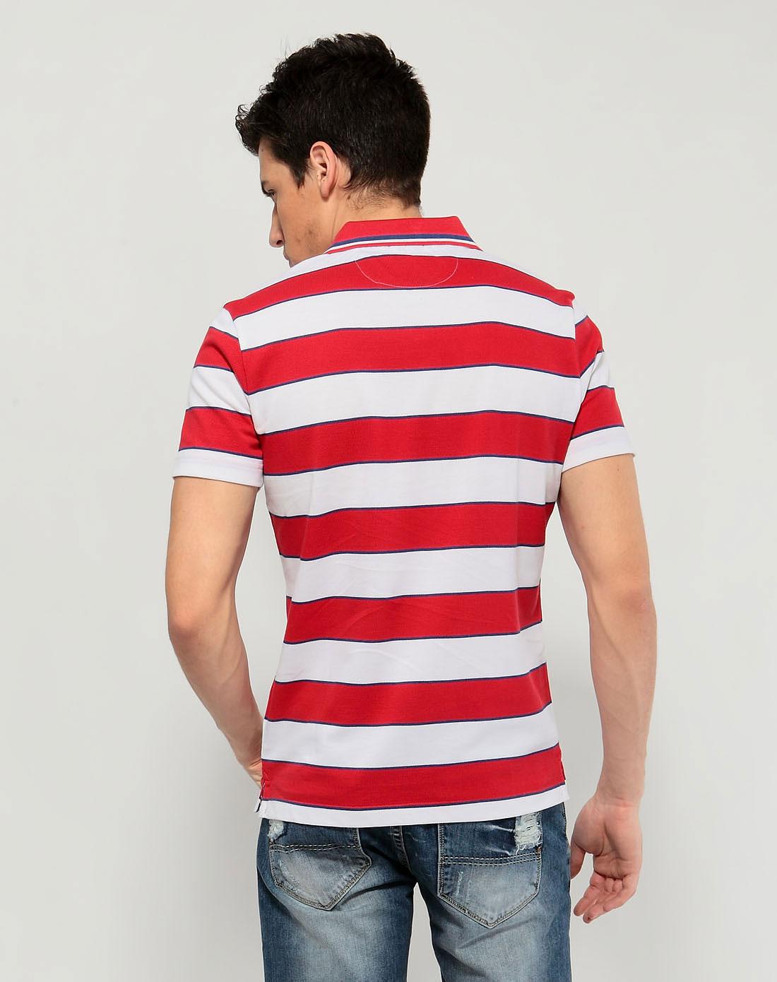 阿科登agcatton大红色条纹绣花短袖翻领t恤