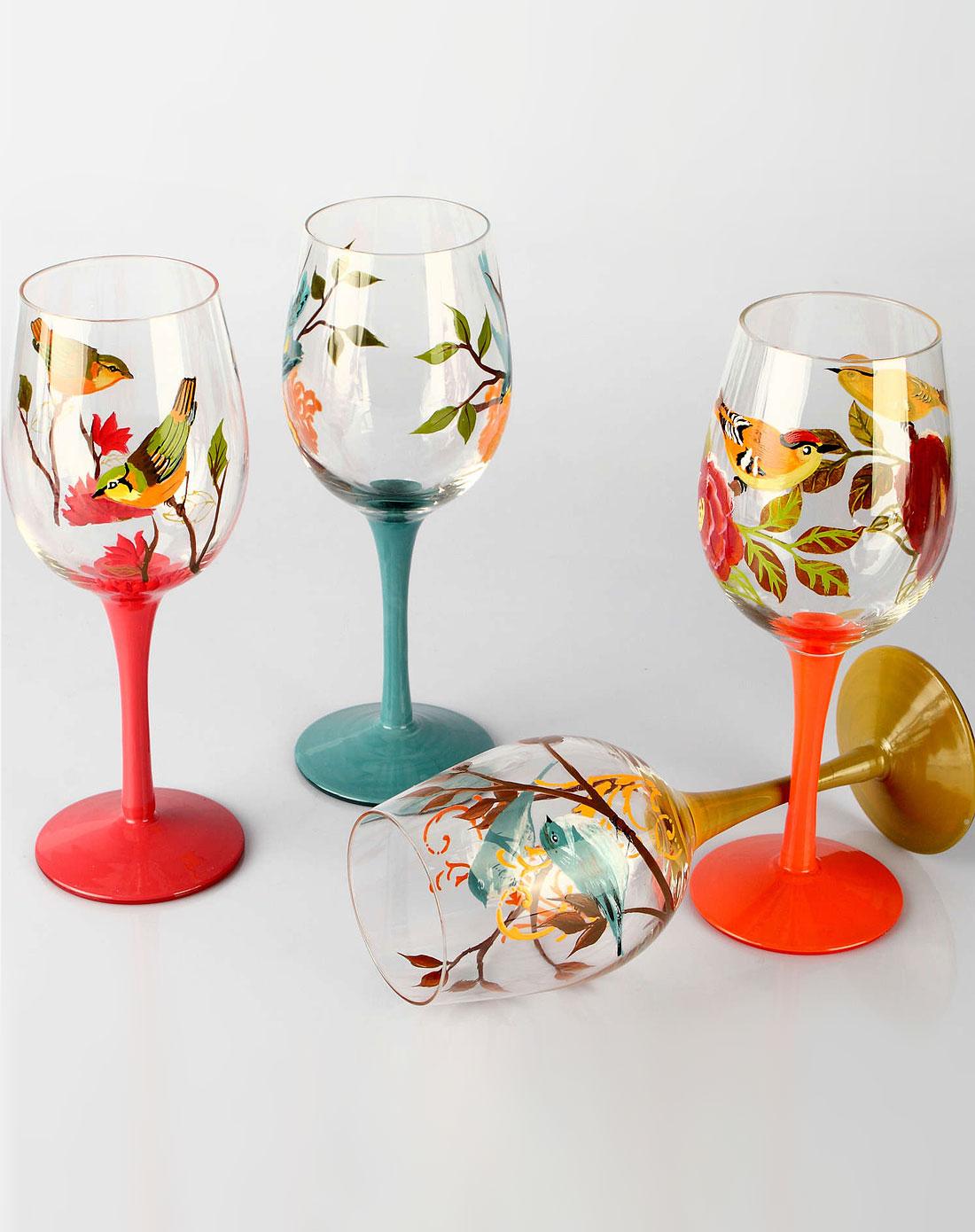 鸟语花香手绘玻璃红酒杯四件套
