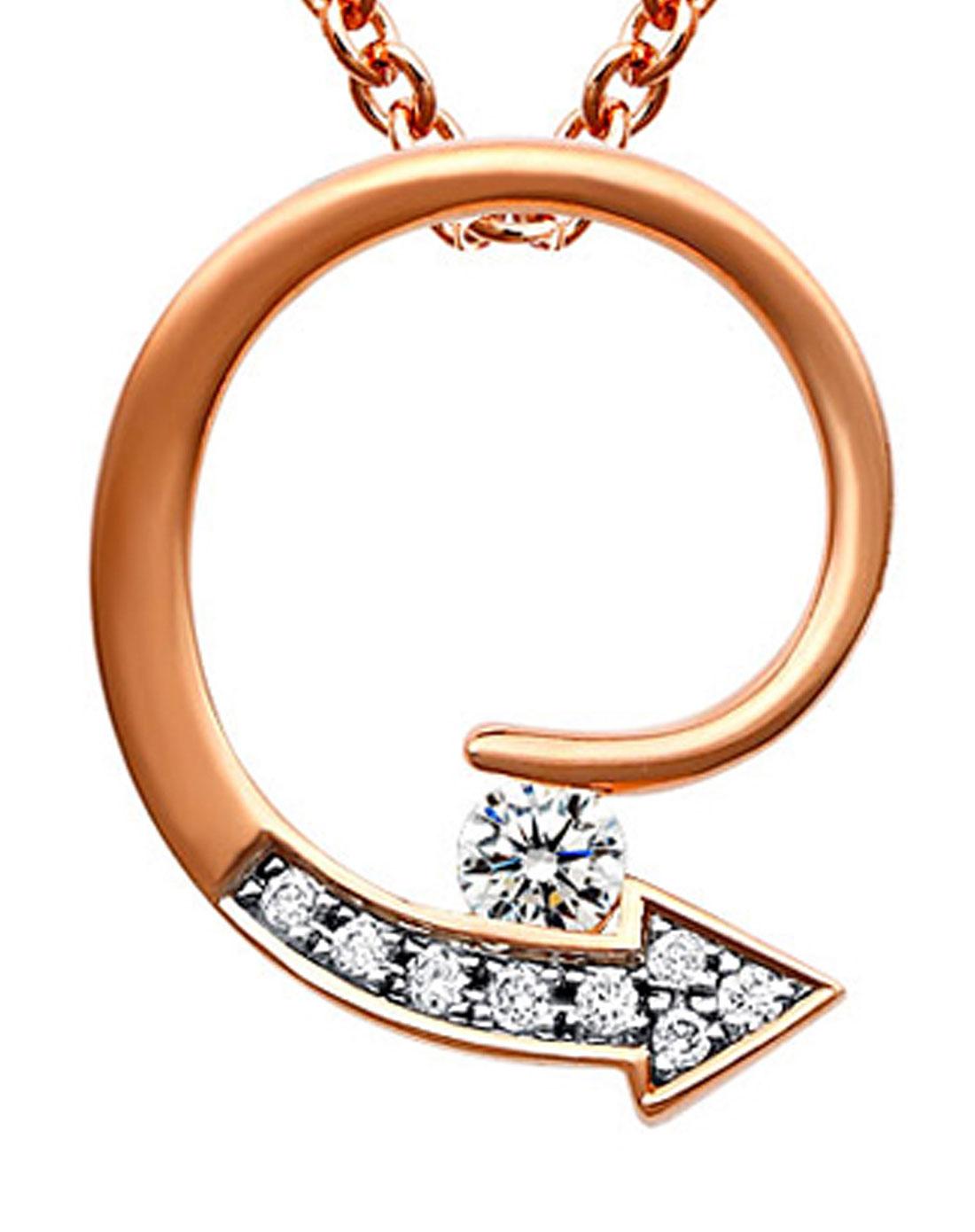 olzbw珠宝女款精巧漩涡指示箭头镶钻坠饰项链白/金色p