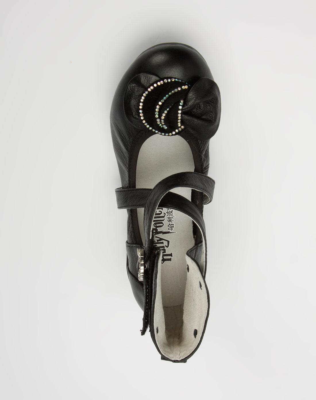 r童鞋女童黑色皮鞋