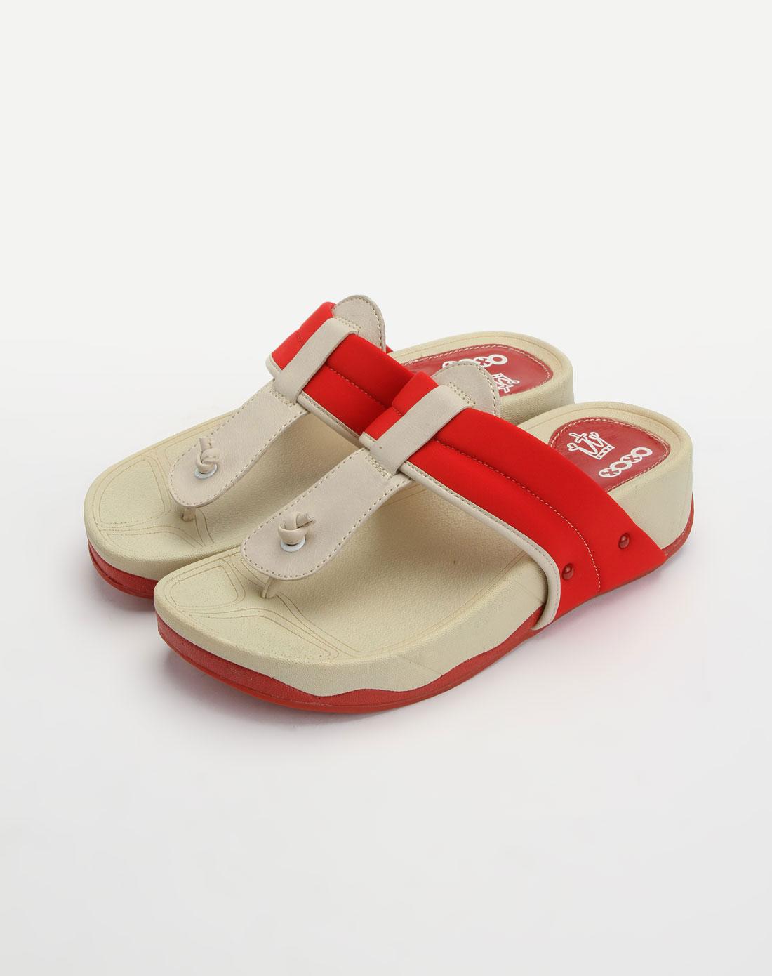 红/米白色时尚休闲凉拖鞋