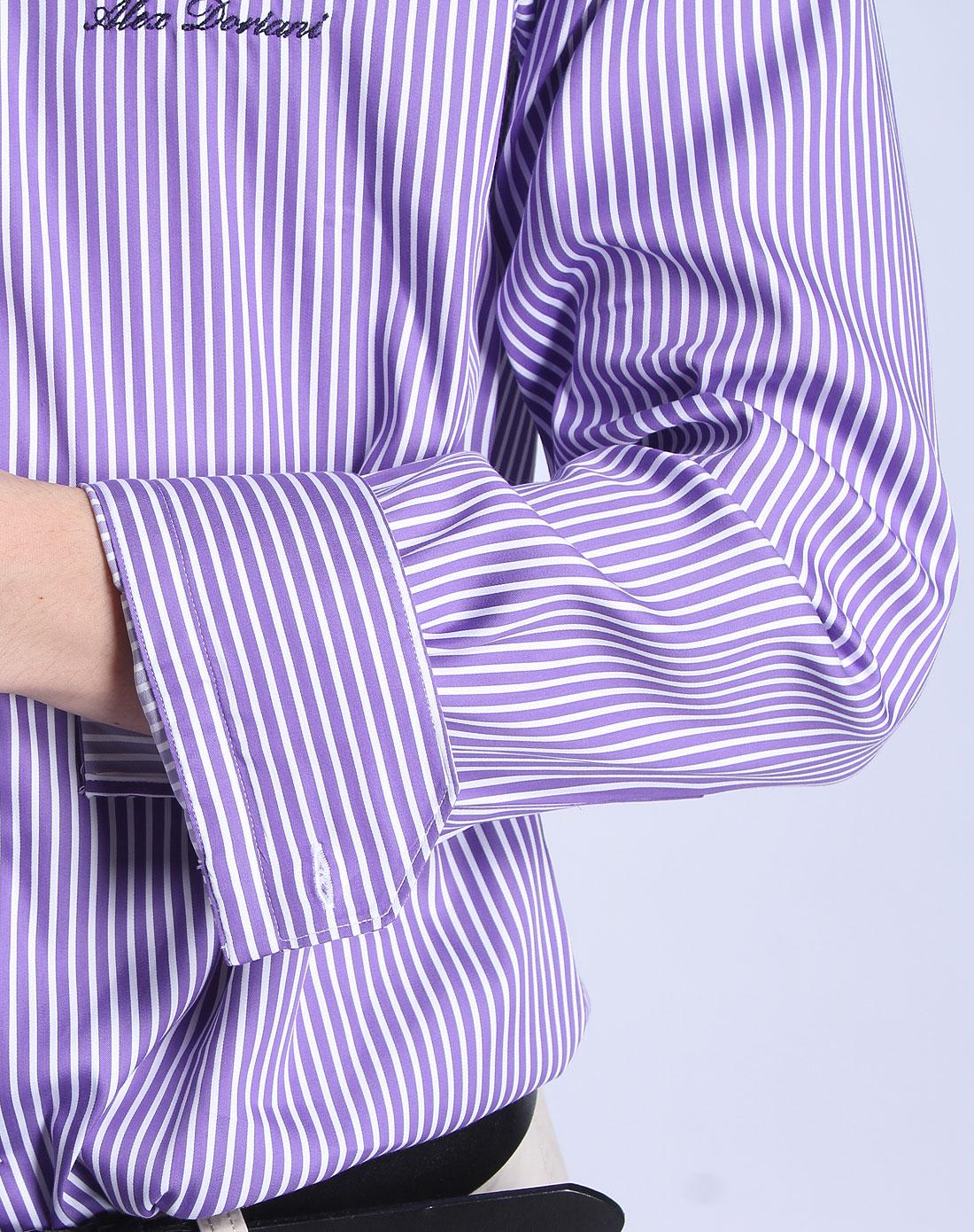 春夏加尔达系列2012新款男士紫/白色竖条衬衣