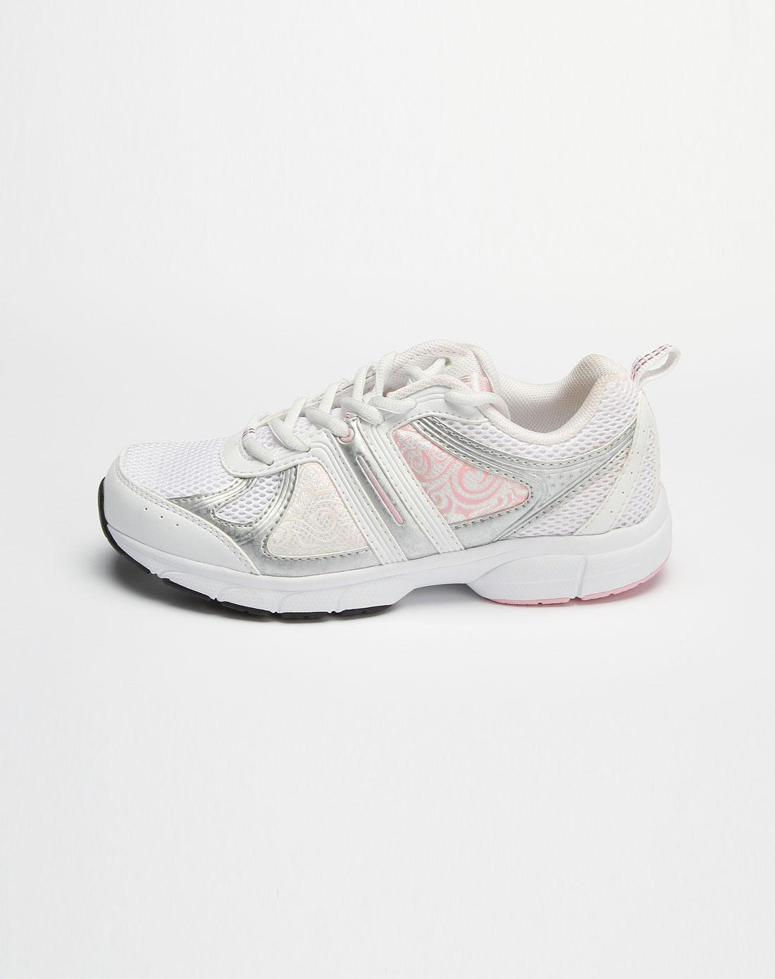 361° 女款白/粉红色网面绑绳运动鞋