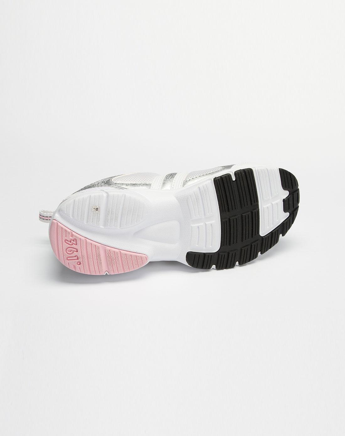 361°女款白/粉红色网面绑绳运动鞋