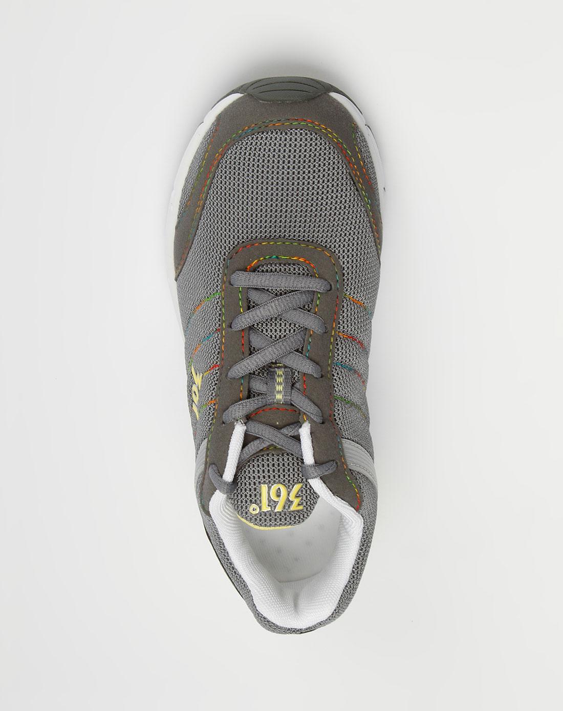 361° 女款深灰炫彩拉线网面绑绳运动鞋