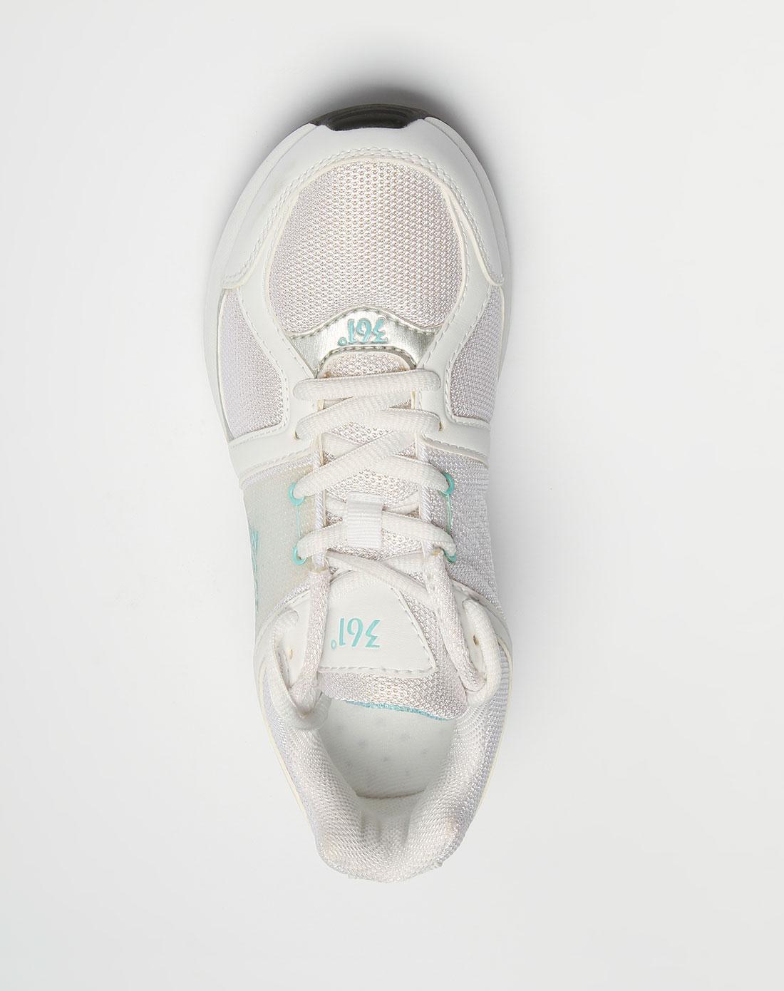 361°女款白/宝绿色网面绑绳运动鞋