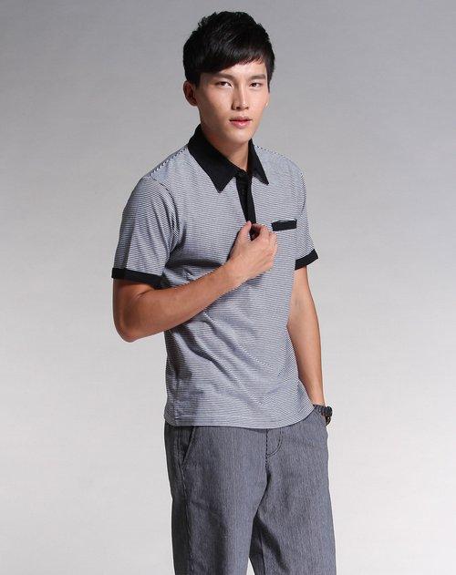 city男装专场黑色白底时尚条纹短袖t恤