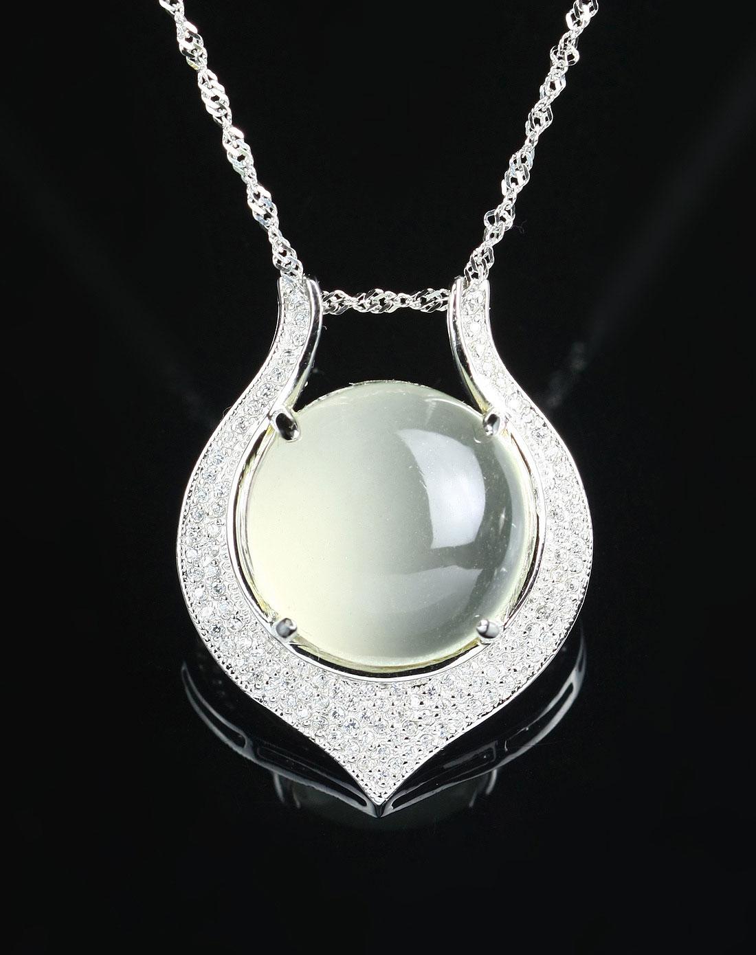ewelry女款透白月光石坠颗粒