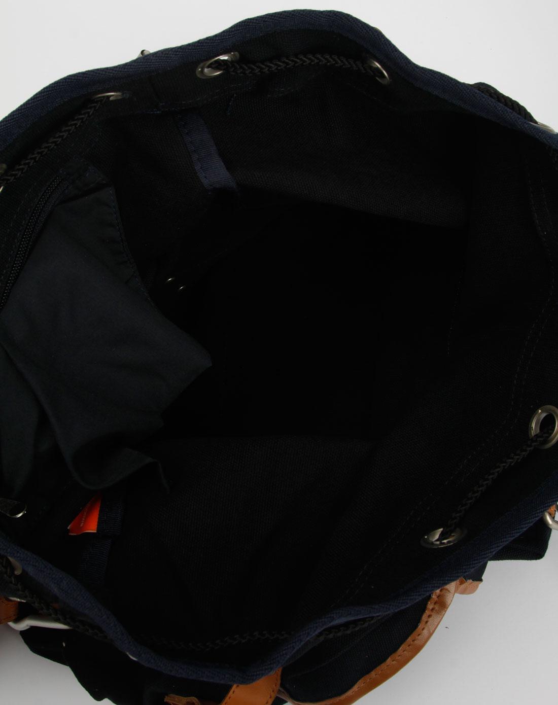 美特斯邦威中性黑/棕色双肩背包