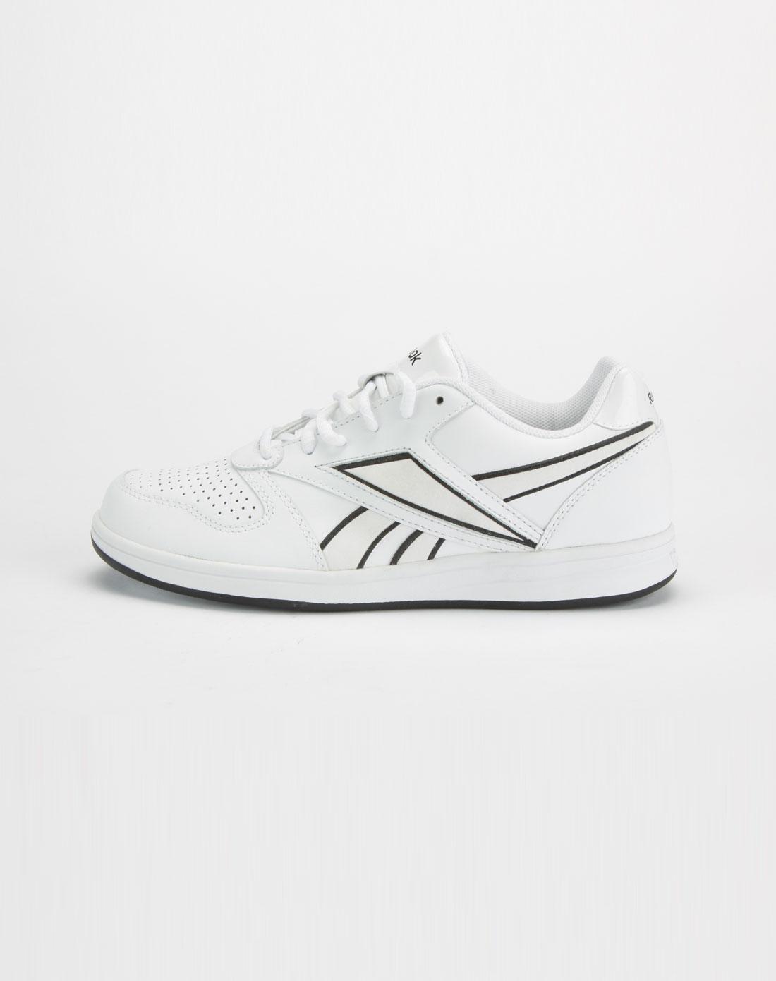 女款白色/黑色系带网球鞋