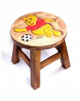 泰国柚手工制作家居木凳(维尼熊)一对装