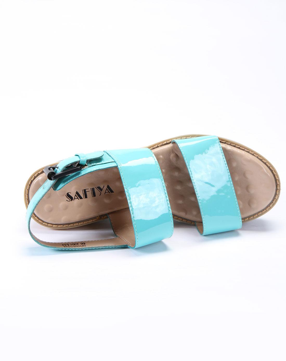 索菲娅safiya女款蓝色漆面牛皮凉鞋