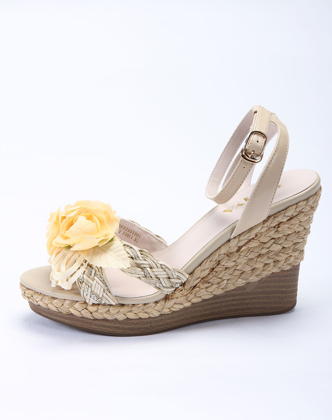 羊皮/杏色pu编织凉鞋