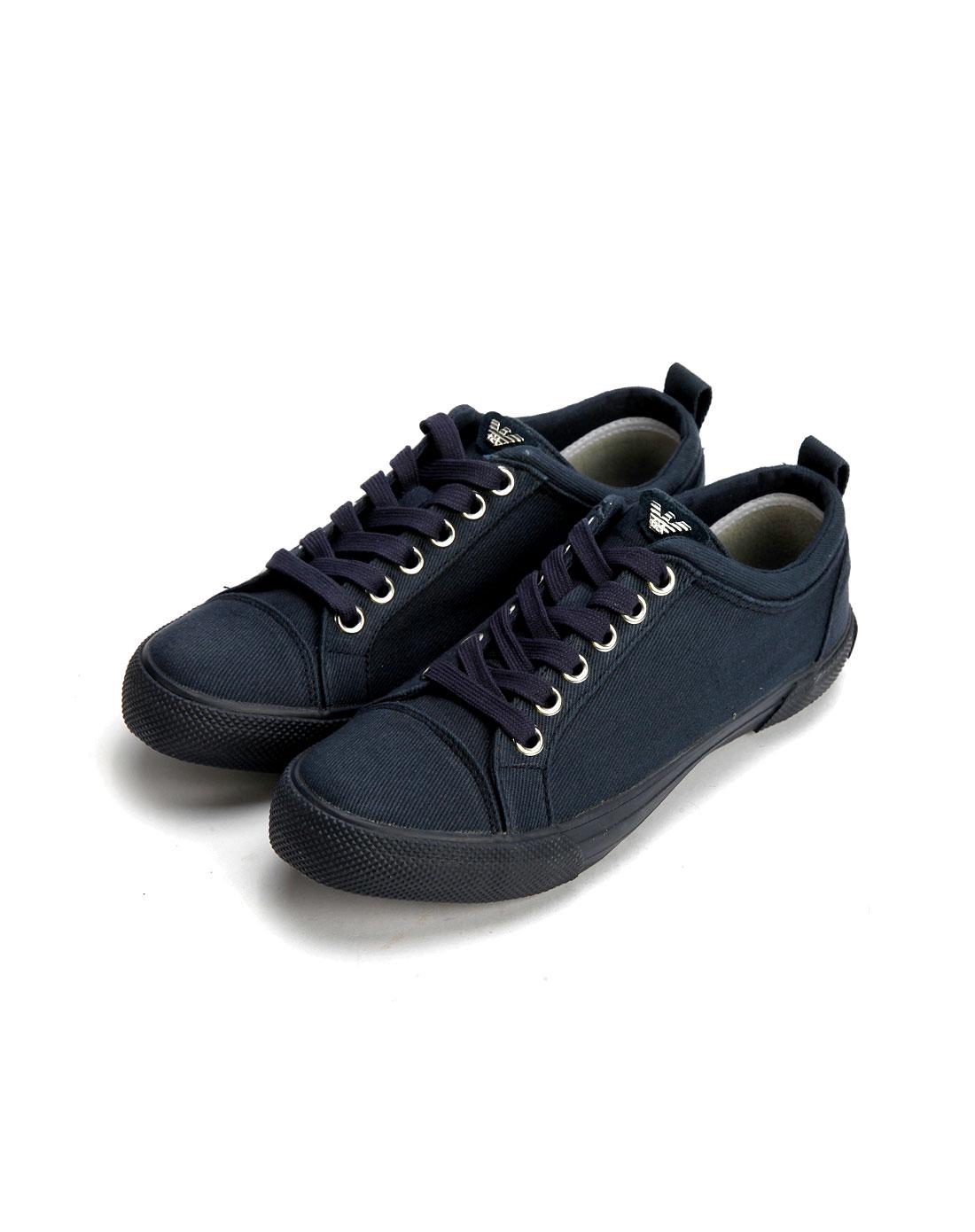 armani鞋子专场aj男款蓝色布面时尚绑带休闲鞋