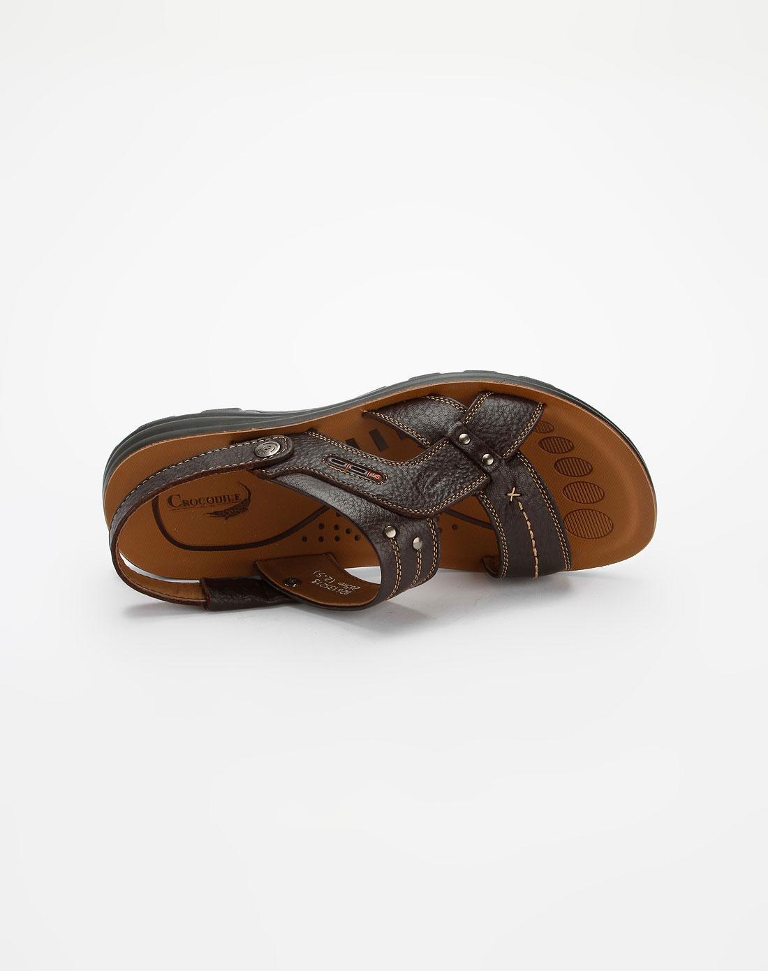 鳄鱼恤crocodile男款棕色时尚凉鞋