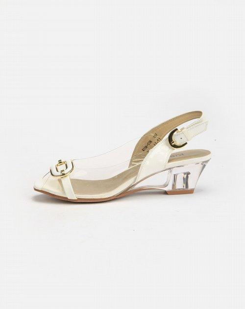 kisscat白色透明胶面高跟凉鞋