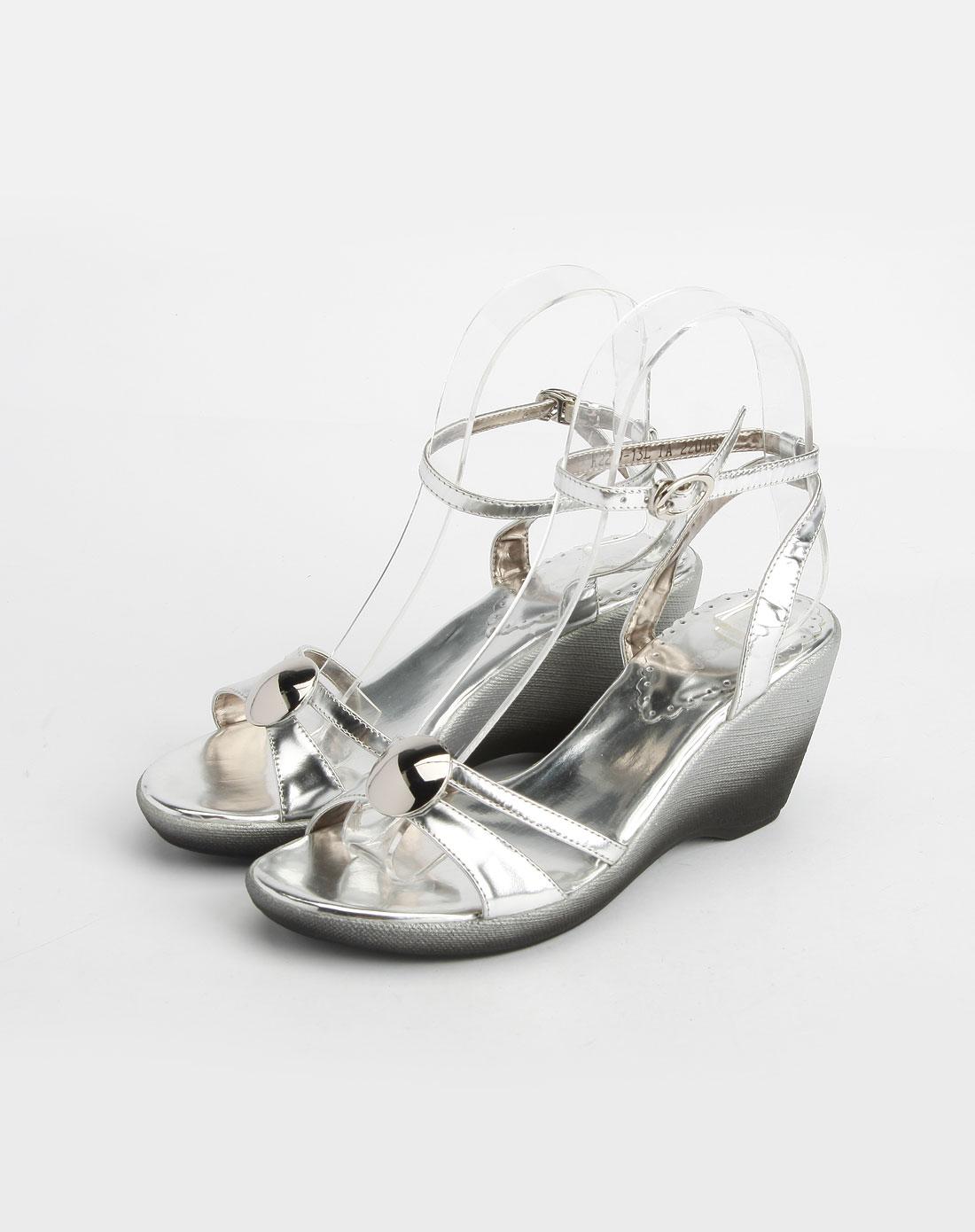 银色时尚坡跟凉鞋_kisscat官网特价1.5-3.9折