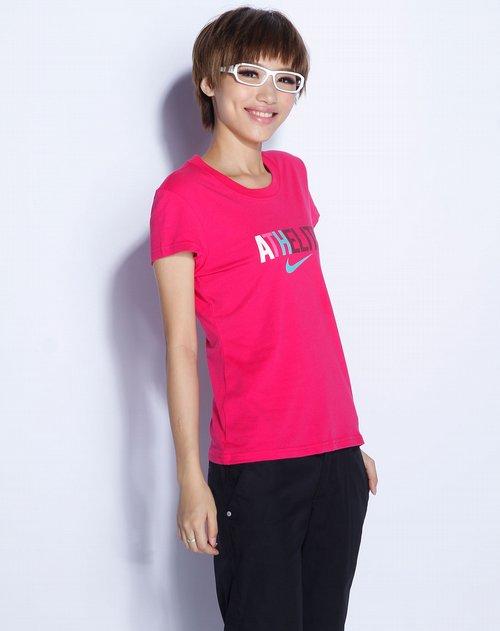 耐克nike女装专场玫红色短袖针织衫1