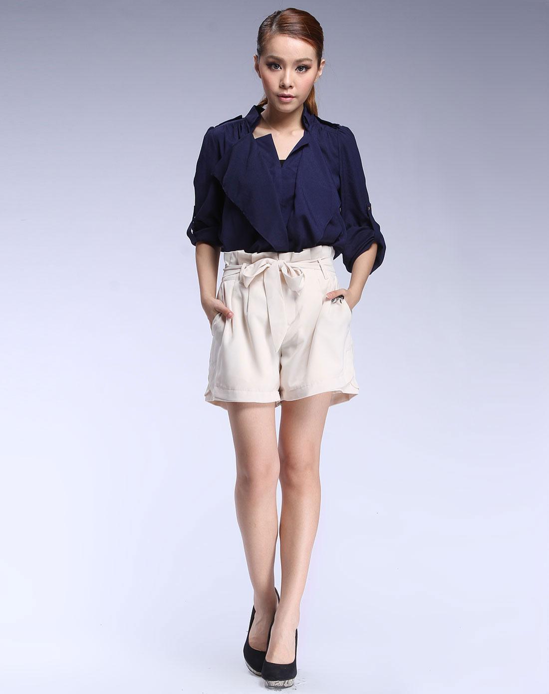 狠狠橹囹�a_艾蔻·姗ikoocoo.3女装专场-深蓝色时尚长袖衬衫