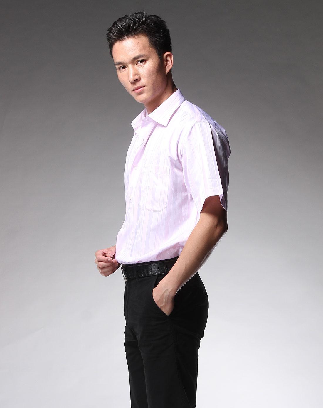 粉色短袖商务衬衫