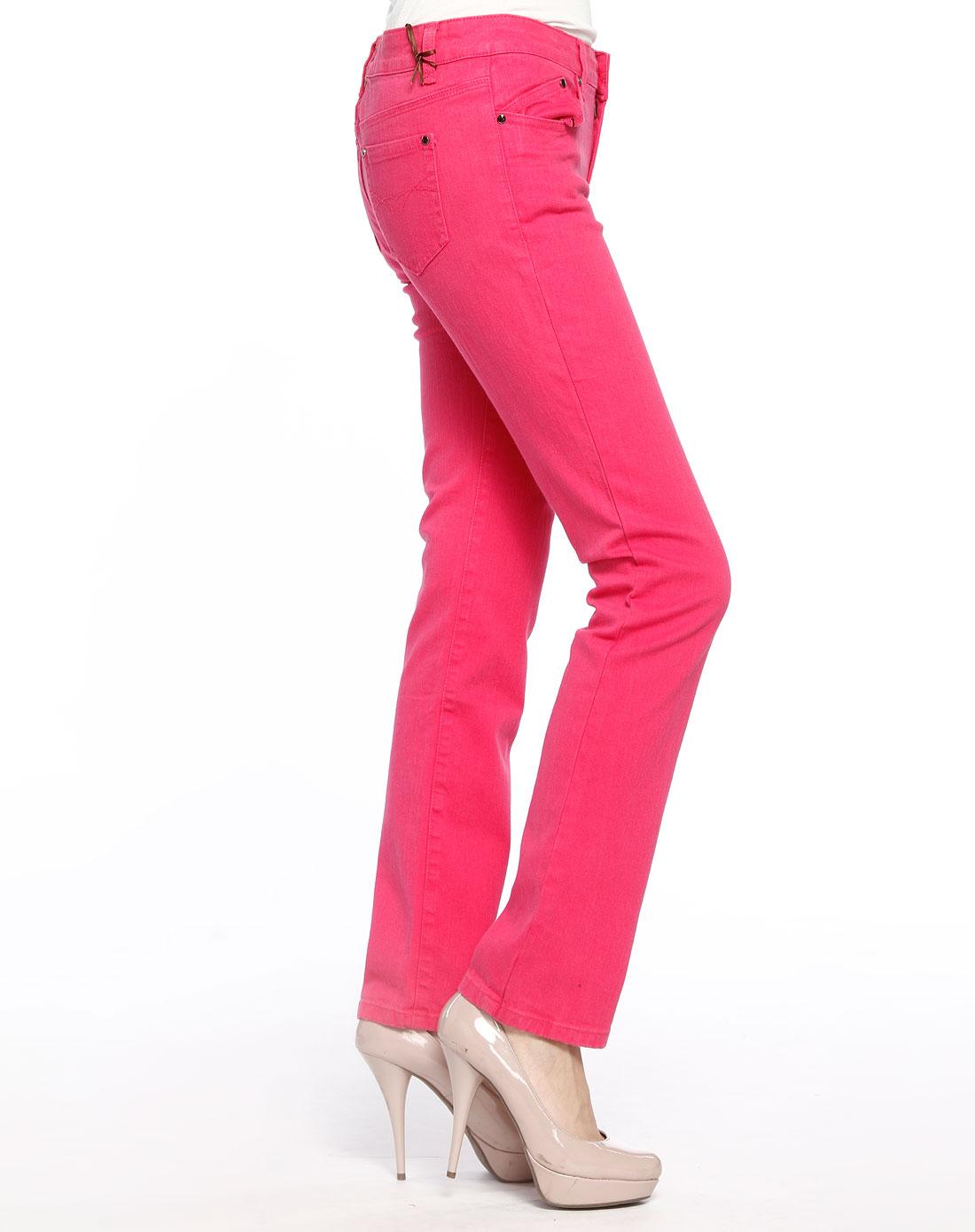 unisex-玫红色弹力竹节小脚长裤
