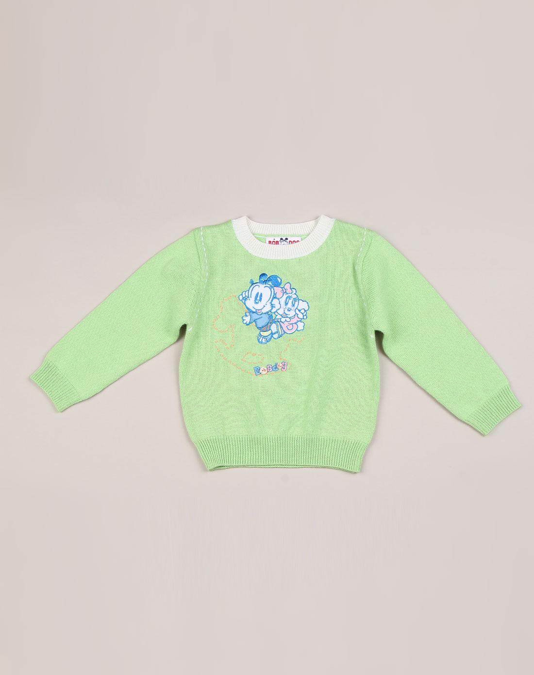 女童浅绿色可爱绣花长袖毛衣