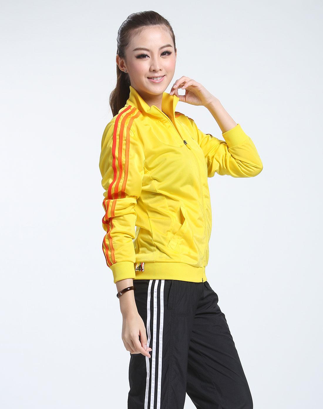 阿迪达斯adidas女款黄色经典长袖运动外套088819