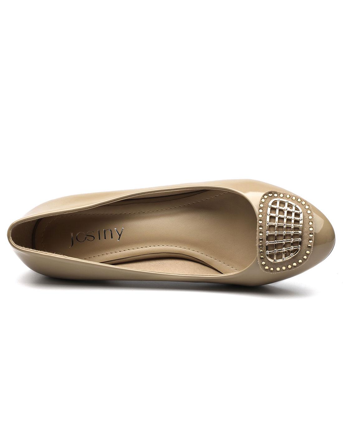 卓诗尼josiny女款浅口圆头中跟单鞋杏色工作鞋女鞋