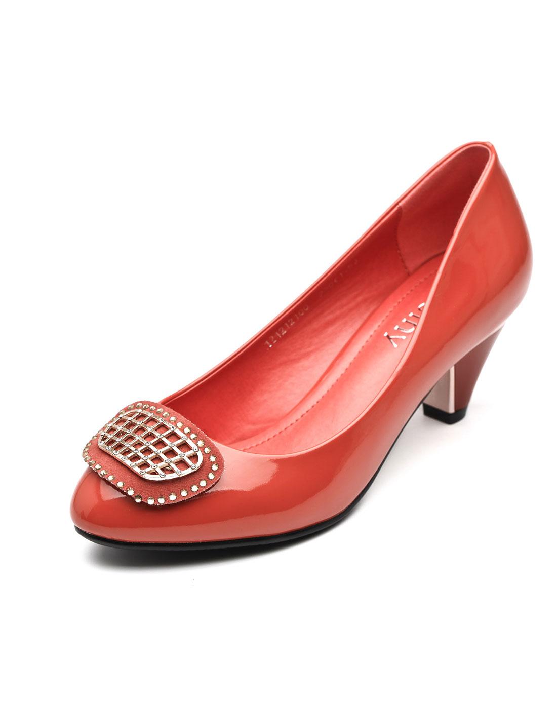 卓诗尼josiny女款浅口圆头中跟单鞋西瓜工作鞋女鞋