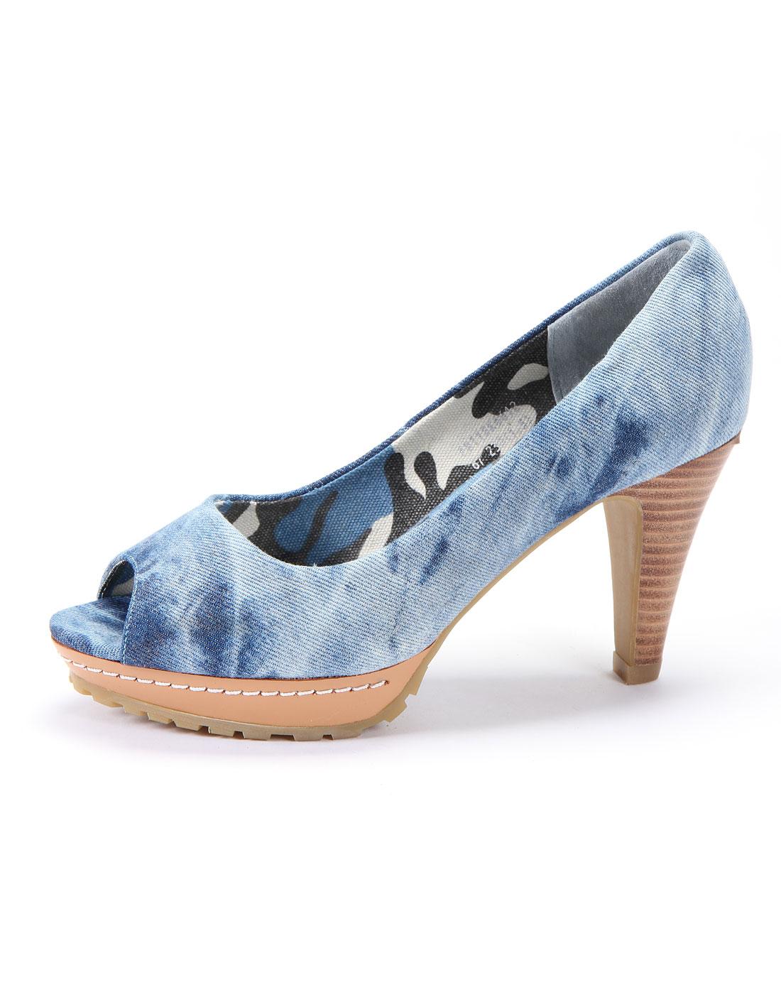 菲伯丽尔fbl女蓝色牛仔布凉鞋