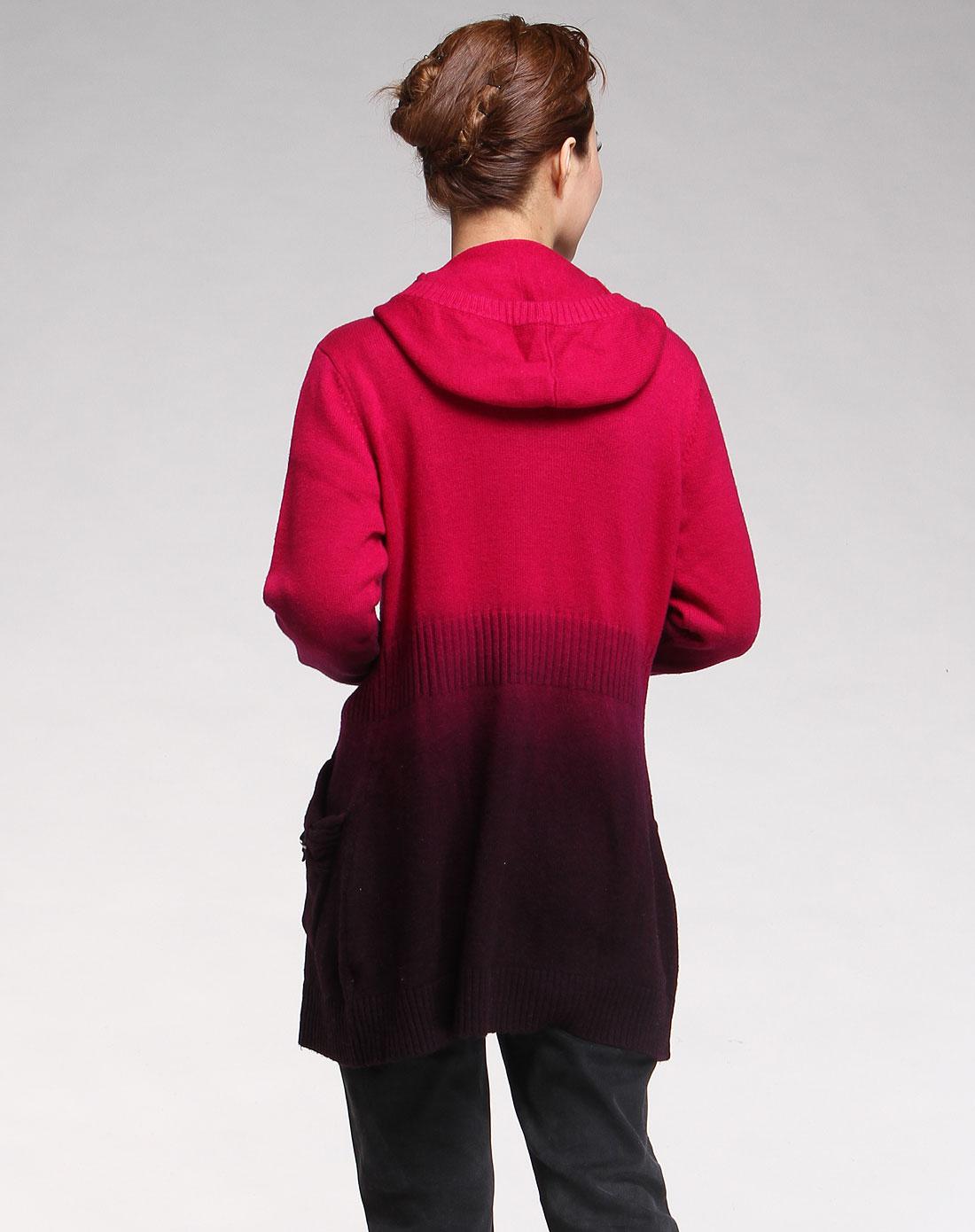 帕丝特pstl玫红色渐变连帽长袖针织衫240903705323