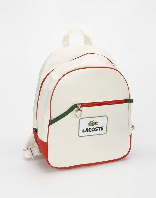 鳄鱼lacoste库存白色印logo图双肩背包
