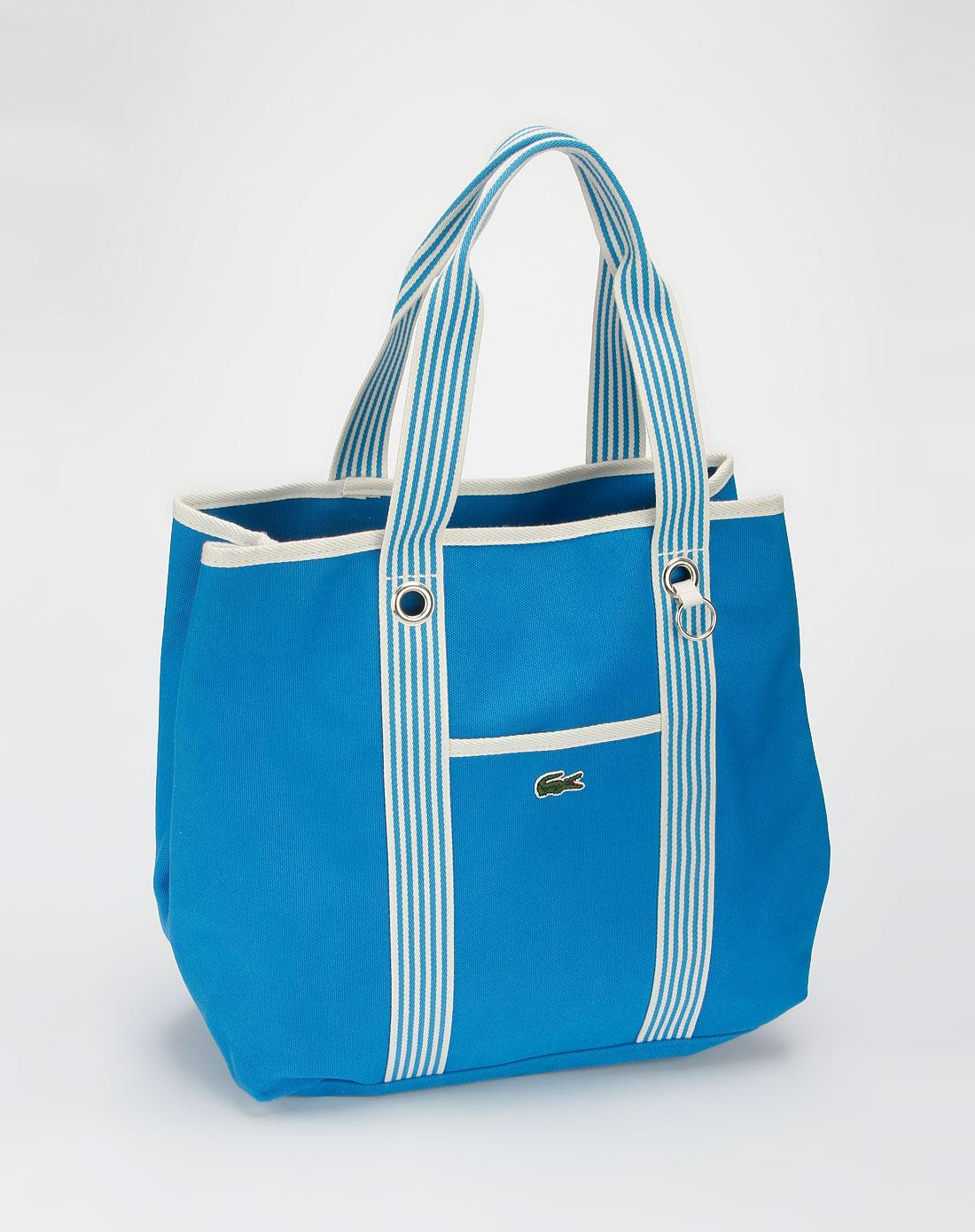 法国鳄鱼包包lacoste蓝色沙滩包