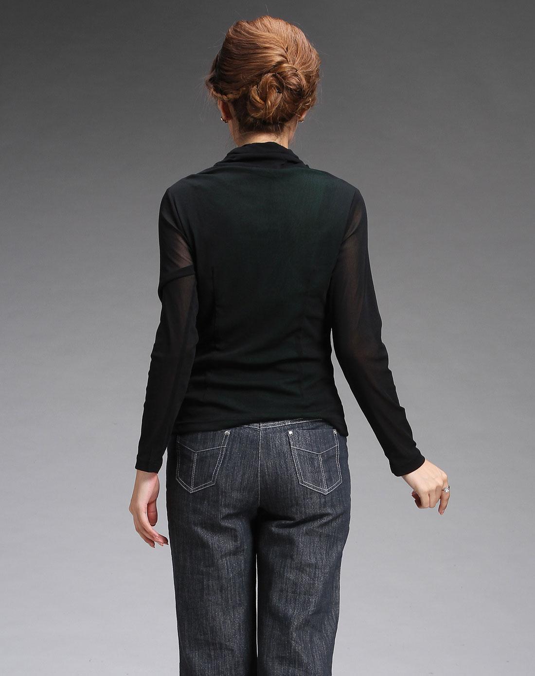 蕾朵liedow黑色高领时尚长袖上衣