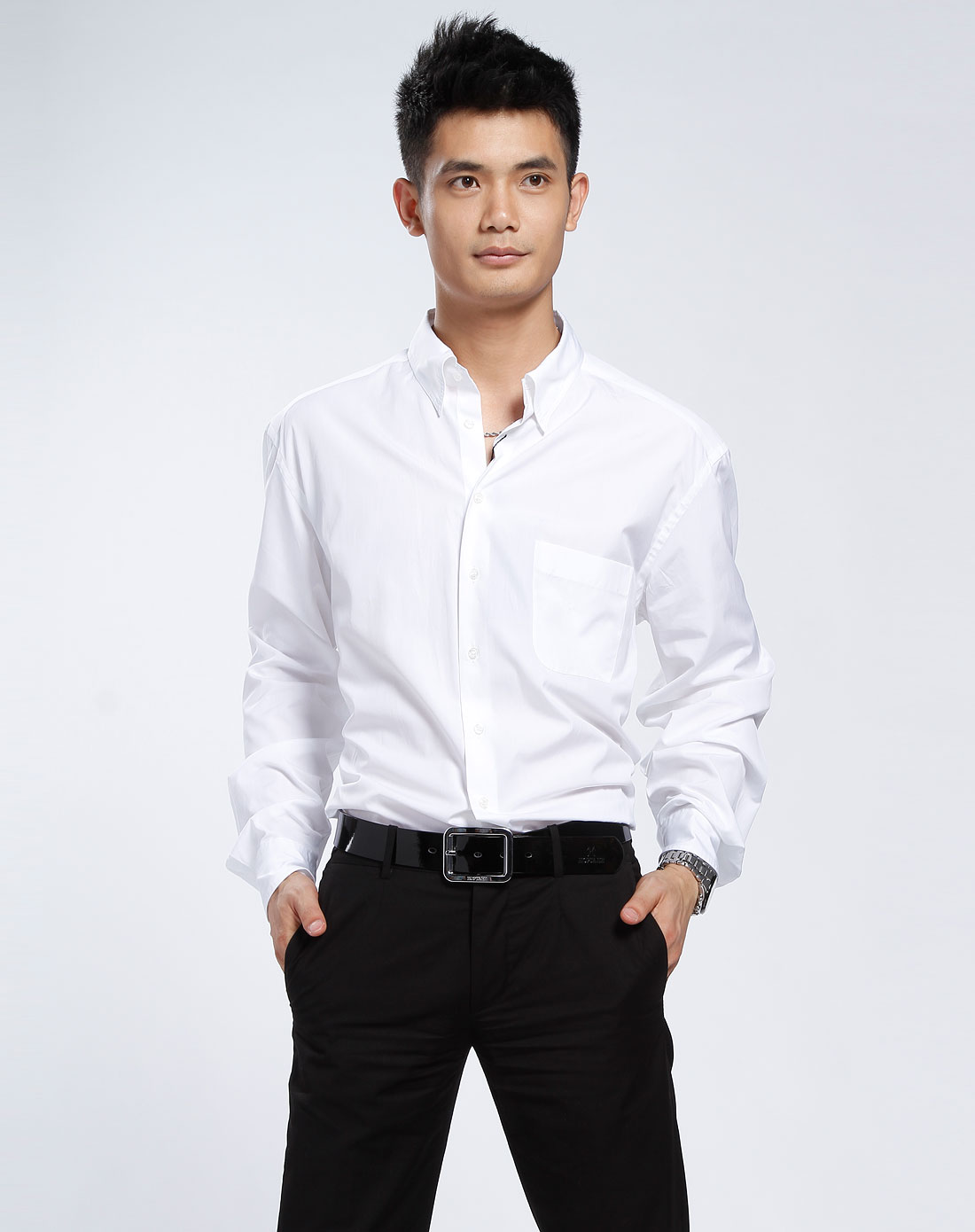 armani-男士ga白色长袖衬衫1