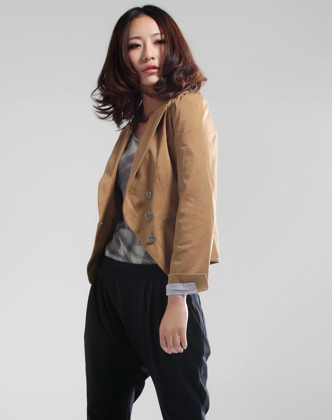 doin深卡其色时尚长袖外套a30213002-506