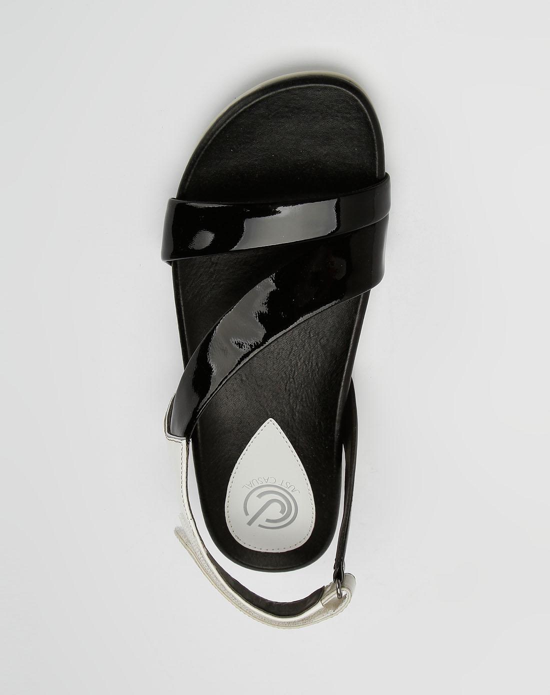 黑/米白色休闲凉鞋_jc