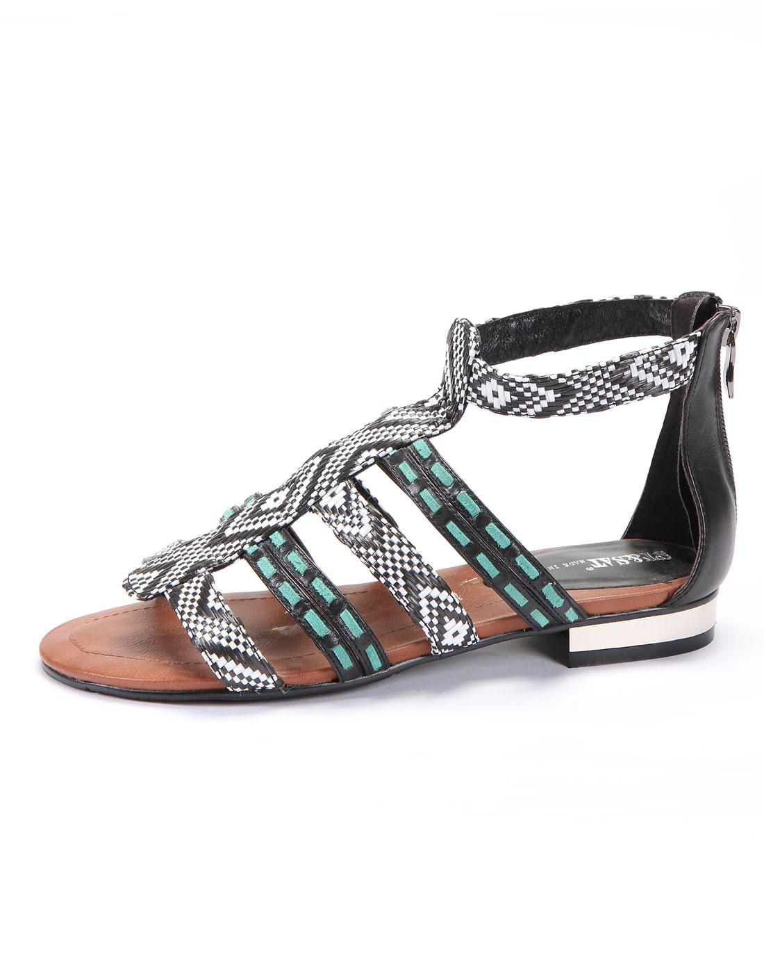 女黑白色纤维编织带/黑色牛皮凉鞋