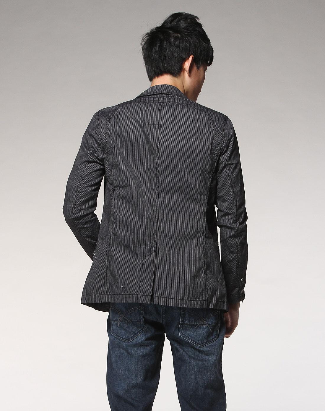 森马男装专场-黑色休闲长袖西装外套图片