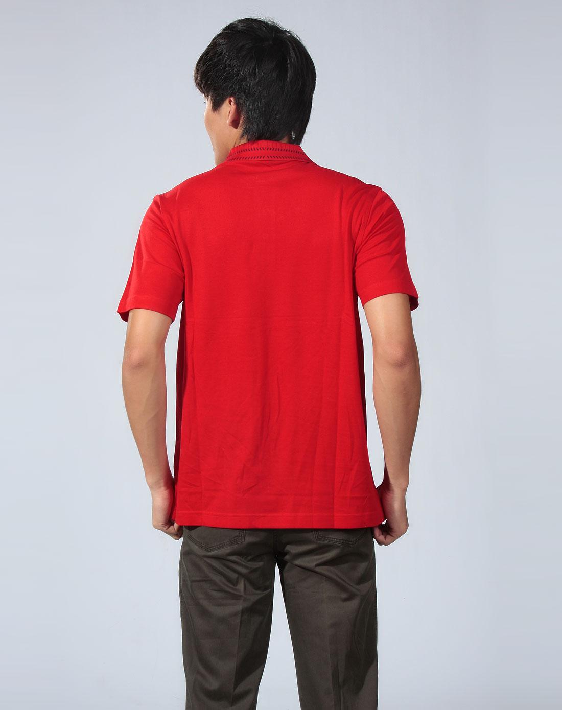 卡丹路cardanro 大红色休闲短袖polo衫