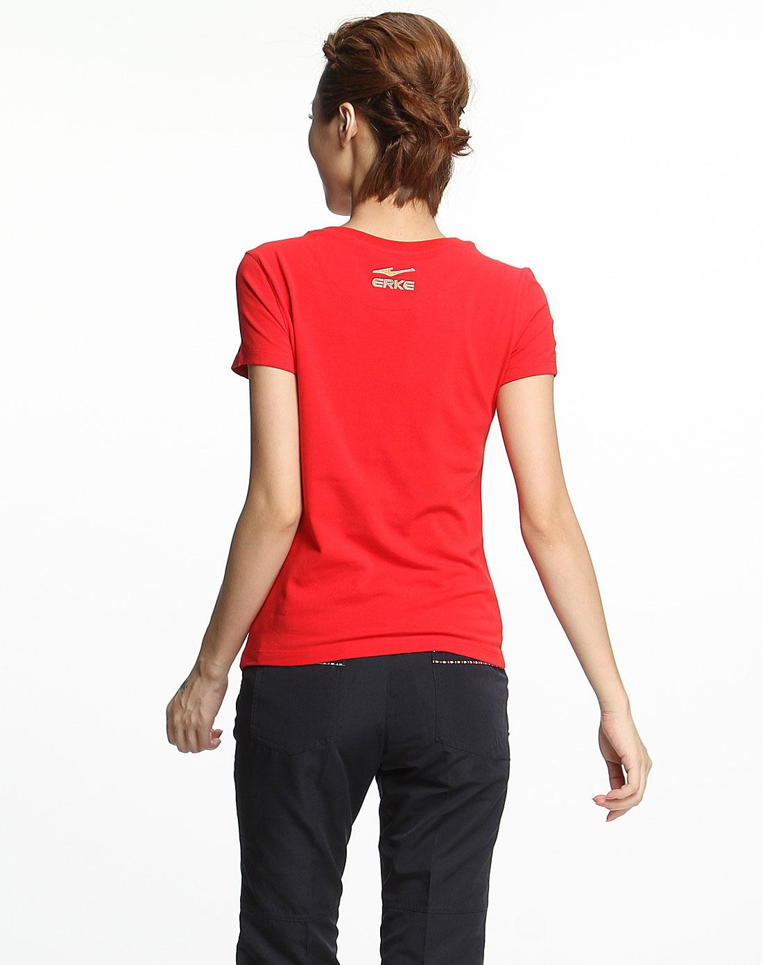 女款大红色时尚短袖文化衫